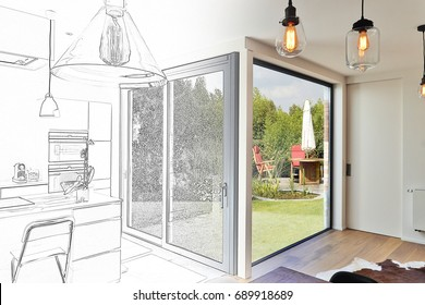 Mixed sketch of Renovation on a Modern luxury kitchen  with sliding door and view on a lush garden