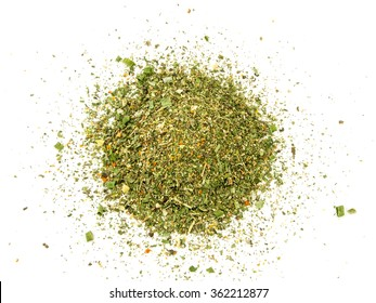 Mixed spices on white background. Garlic fennel carrots basil celery, parsley, marjoram, onion.