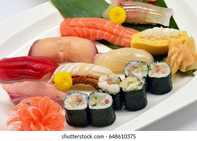 Mixed of sushi. Japanese traditional food.