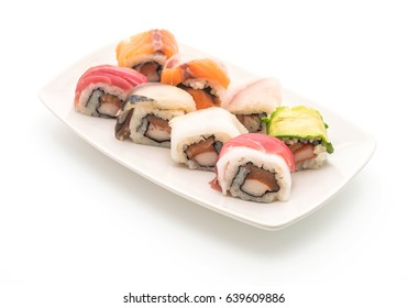 mixed sushi roll - japanese food style on white background