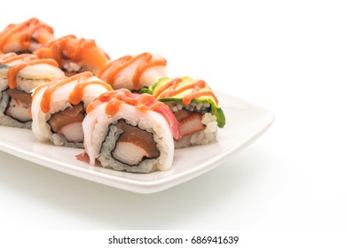 mixed sushi roll with spicy sauce - japanese food style on white background
