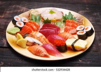 mixed sushi and sashimi