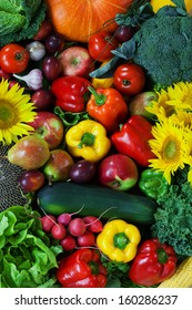 Mixed together different kinds of fruits and vegetables