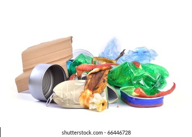 Mixed trash isolated on white background