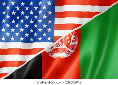 Mixed USA and Afghanistan flag, three dimensional render, illustration