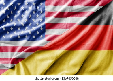 Mixed USA and Germany flag, three dimensional render