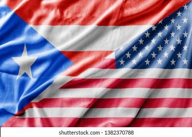 Mixed USA and Puerto Rico flag, three dimensional render