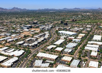 Mixed use business area in Scottsdale, Arizona including office, industrial and retail structures viewed from above