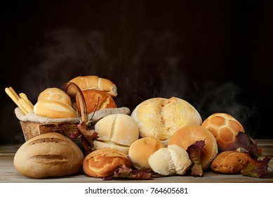 mixed variety of steaming bread