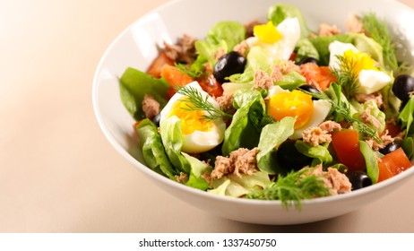 mixed vegetable salad with egg, tuna and tomato