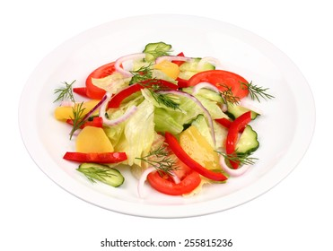 Mixed vegetable salad on white plate