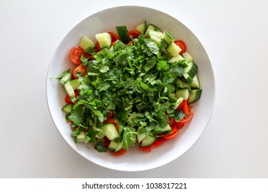 a mixed vegetable salad from top view