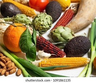 Mixed vegetables and fruits on a table