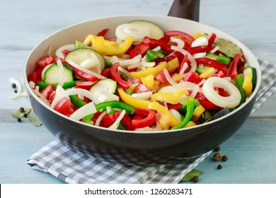 Mixed vegetables on frying pan.