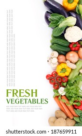 Mixed vegetables on isolated white background. Organic food from farm.