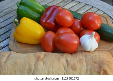 Mixed vegetables on a wooden table