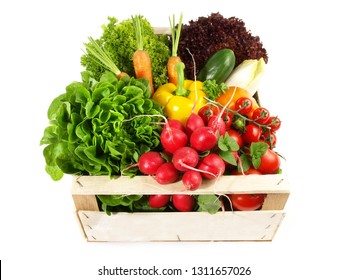 Mixed Vegetables and Salads in a Box on white Background