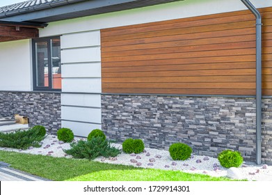 mixed wall cladding of a private house