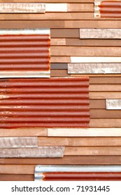 Mixed wall, zinc and wood background
