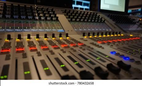 Mixer in broadcast control room