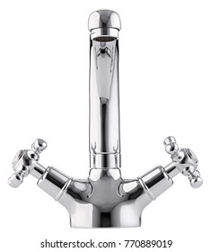 Mixer cold hot water. Modern faucet  bathroom.  Kitchen tap  . Isolated  white background. Front view.