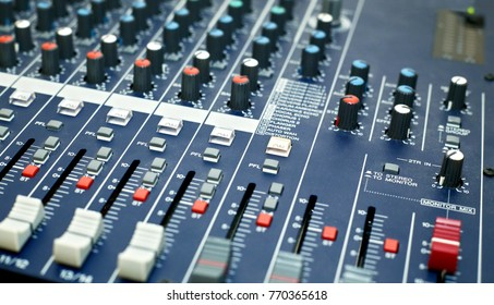 Mixer console. many controls