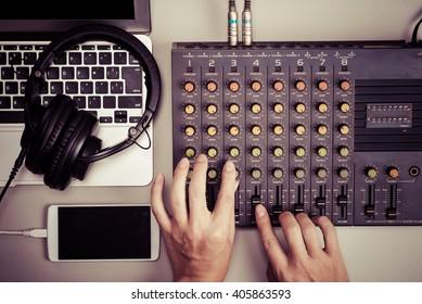 Mixer, laptop and smart phone