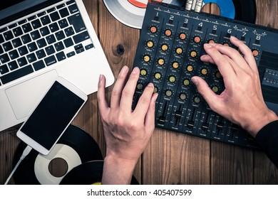 Mixer, laptop and smartphone