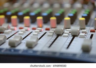 mixer in radio broadcast room