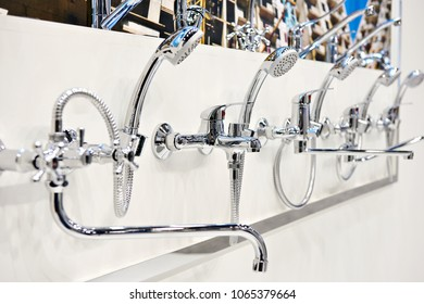 Mixers taps for shower in a hardware store