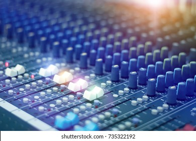 Mixer.Sound mixer controller in the control room.Sound mixer control for live music and studio equipment.This is a quality audio system for professionals.