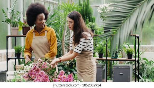 Mixes-races floral store female employees in aprons making bouquets at work. Caucasian and African American women florists working in flower shop together. Business concept