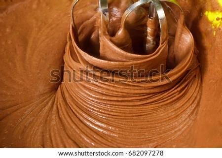 Mixing Cocoa Powder Flour