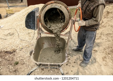 Mixing of concrete in a concrete mixer .