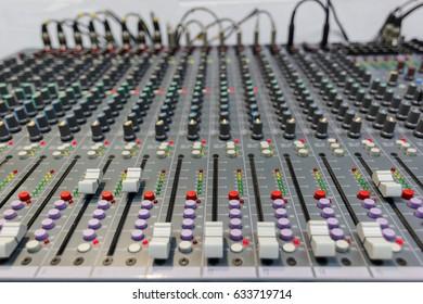 Mixing Console  of a big HiFi system  The audio equipment, control panel of digital studio mixer. Close-up