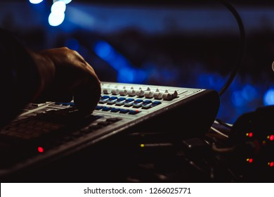 Mixing console at the concert
