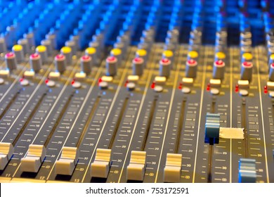 Mixing console in control room