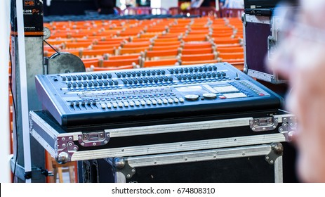 Mixing console in live concert