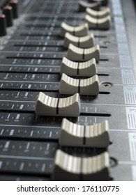Mixing desk faders , for music and sound , entertainment themes