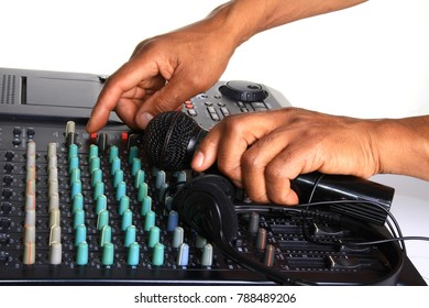 mixing desk image with hand