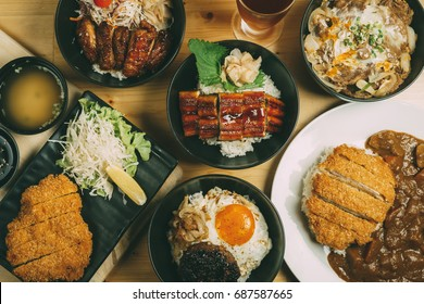 Mixing of Donburi, Japanese food style, Rice bowl, Chicken Teriyaki, Unagi, Tonkatsu, Miso soup