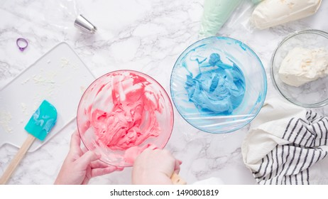 Mixing food coloring with buttercream frosting.