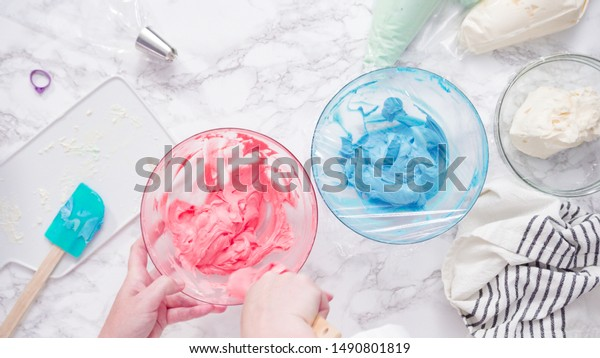 Mixing Food Coloring Buttercream Frosting Stock Photo (Edit ...