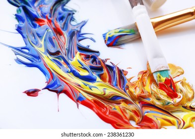 Mixing paints, close-up