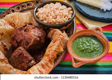 Mixiotes food in mexico, Mexican beef or lamb wrap spicy