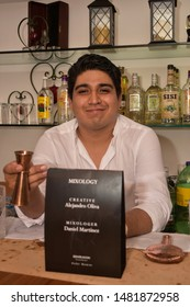 Mixologer Daniel Martinez poses during Patey Woman's Mineralium  Collection. Mixology designed by Alejandro Oliva