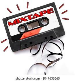 mixtape audio tape label red