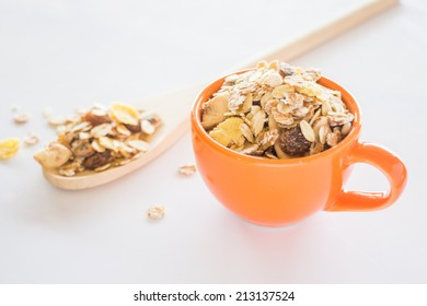 Mixture of cereals on white table, stock photo