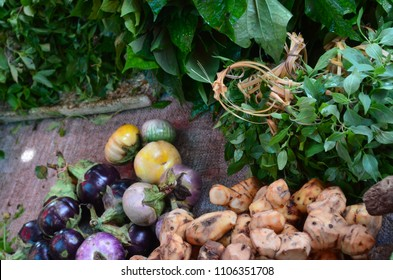 A mixture of colorful vegetables and herbs for sale in an Asian market. They include eggplants, turmeric, leafy greens and Thai basil