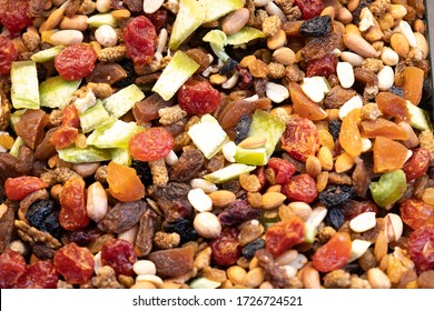 A mixture of dried fruits and cookies.